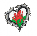Ripped Torn Metal Heart Carbon Fibre with Wales Welsh CYMRU Flag External Car Sticker 105x100mm